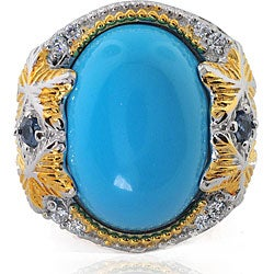 Michael Valitutti Sterling Silver and Vermeil Multi-gemstone Ring