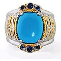 Michael Valitutti Two-tone Cushion-shaped Turquoise and Sapphire Ring