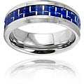 Crucible Men's Tungsten Carbide Blue Carbon Fiber Inlay Band (8 mm)