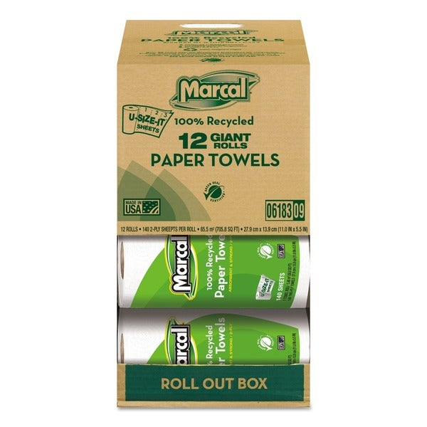 Marcal Recycled Kitchen Paper Towel Roll (Case of 12)
