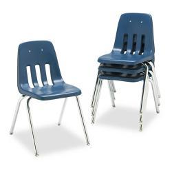 Virco 9000 Series Navy/Chrome Plastic Stack Chair (Case of 4)