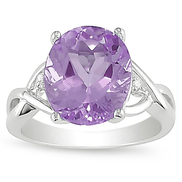 Miadora Sterling Silver Purple Amethyst and Diamond Accent Ring
