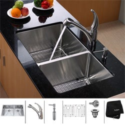 Kraus 16-Gauge Stainless-Steel Undermount Kitchen Sink, Faucet and Dispenser