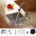 Kraus T-304 Stainless-Steel Undermount Kitchen Sink, Faucet and Dispenser
