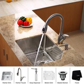 Kraus Kitchen Combo T-304 Steel Undermount Sink with Faucet