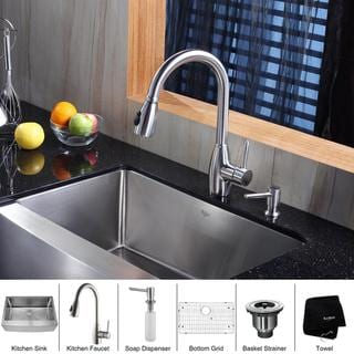 Kraus Kitchen Combo Set Stainless Steel 30 -inch Farmhouse Sink with Faucet