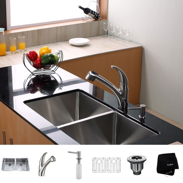 Kraus Kitchen Combo Set Stainless Steel 33 -inch Undermount Sink with Faucet