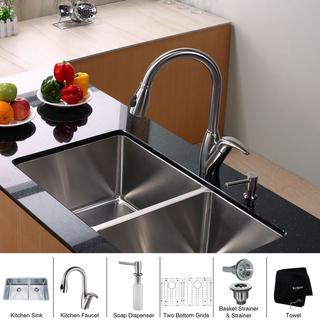 Kraus Kitchen Combo Set Stainless Steel33 -inch Undermount Sink with Faucet