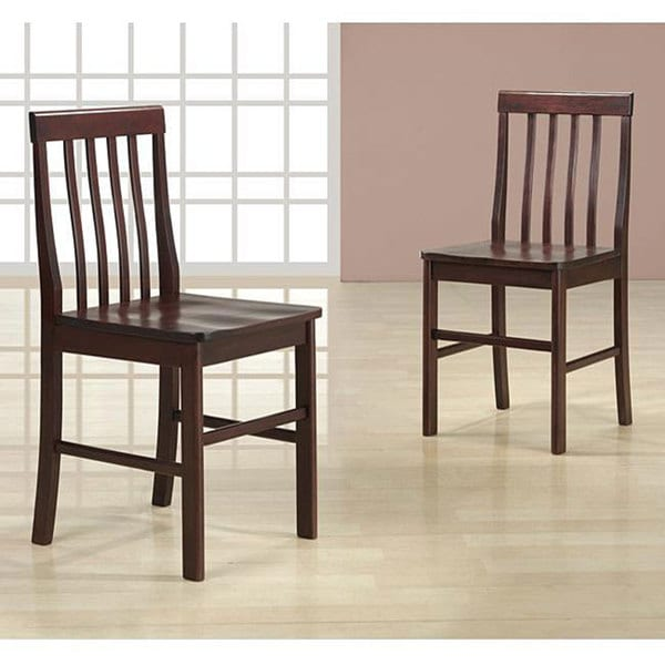 Espresso Wood Dining Chairs (Set of 2)