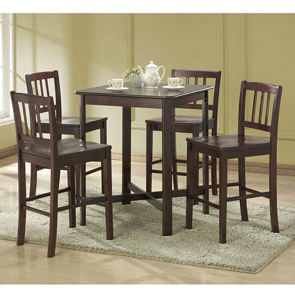 Espresso 5-piece Wood Dining Set