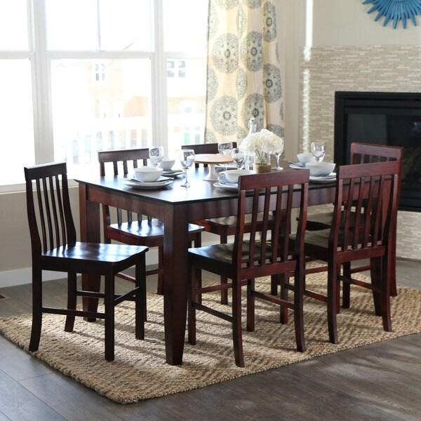 Brown 7-piece Wood Dining Set