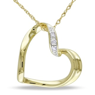 Miadora 10k Yellow Gold Diamond Accent Heart Necklace