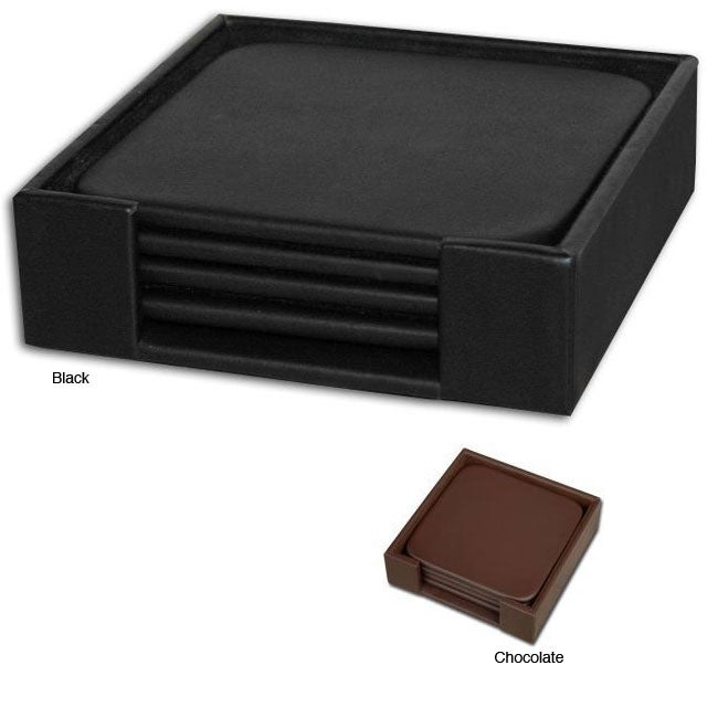 Leather 4-piece Square Coaster Set with Holder