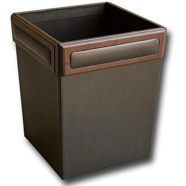 Dacasso 8000 Series Wood and Leather Square Waste Basket