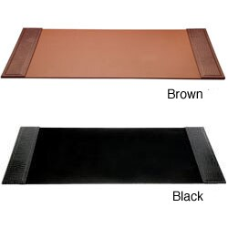 Dacasso Crocodile-Embossed Leather Desk Pad with Side Rails