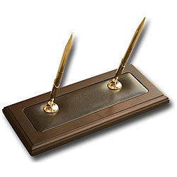 Dacasso 8000 Series Wood and Leather Double Pen Stand