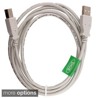 Type A to B 6-foot White USB 2.0 Cable