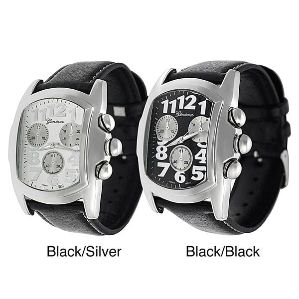 Geneva Platinum Men's Black Leather Strap Watch