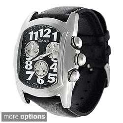 Geneva Platinum Men's Black Leather Strap Watch