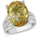 Miadora Sterling Silver Citrine, Created White Sapphire and Diamond Ring