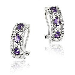 Glitzy Rocks Sterling Silver Amethyst/ Diamond Half Hoop Earrings