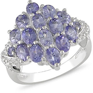 Miadora Sterling Silver Oval Tanzanite Cluster Ring with Bonus Earrings