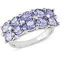 Miadora Sterling Silver Two-row Tanzanite Ring