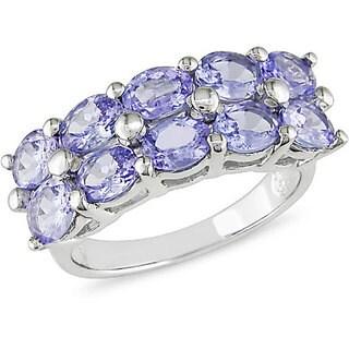 Miadora Sterling Silver Two-row Tanzanite Ring