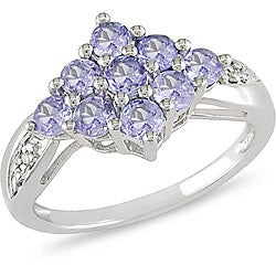 Miadora Sterling Silver Tanzanite and Diamond Accent Ring