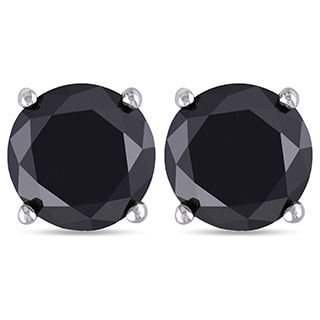Miadora 14k Gold 3ct TDW Black Diamond Stud Earrings