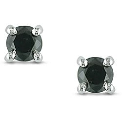 M by Miadora 14k White Gold 1/3ct TDW Black Diamond Stud Earrings