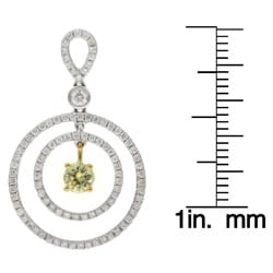 18k Gold 1 3/5ct TDW Yellow and White Circle Diamond Earrings (H, I1)