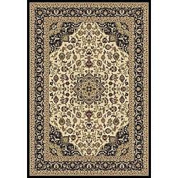Anoosha Kashan Ivory/ Black Rug (3'11 x 5'3)