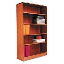 Alera Radius Corner 5-Shelf Light Brown Bookcase With Finished Back