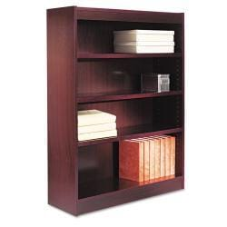 Alera Square Dark Brown Corner Bookcase with Finished Back