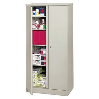 HON Easy-to-Assemble Light Grey 36 x 18 x 72 Storage Cabinet