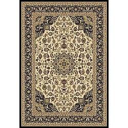 Anoosha Kashan Ivory/ Black Rug (5'3 x 7'7)
