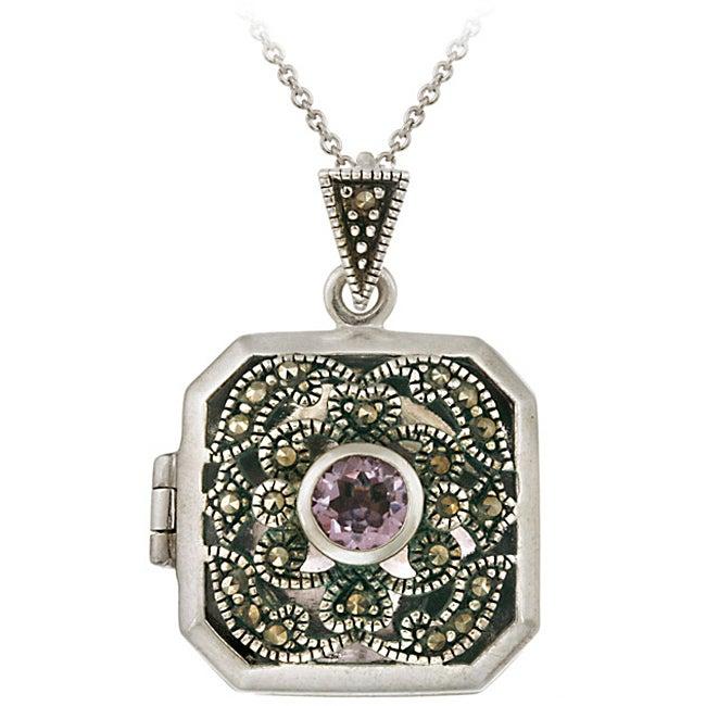 Glitzy Rocks Sterling Silver Marcasite Amethyst Square Locket Necklace