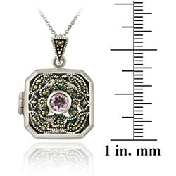 Glitzy Rocks Sterling Silver Marcasite Amethyst Square Locket Necklace