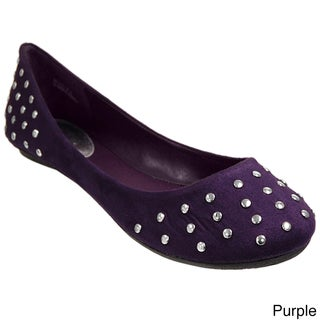 Bamboo by Journee Faux Suede Studded Ballet Flats