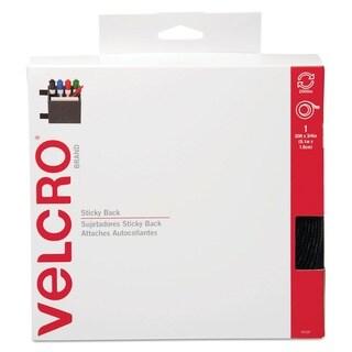 "Velcro Sticky-Back Hook & Loop Roll with Dispenser, 3/4"" x 30-ft, Black"