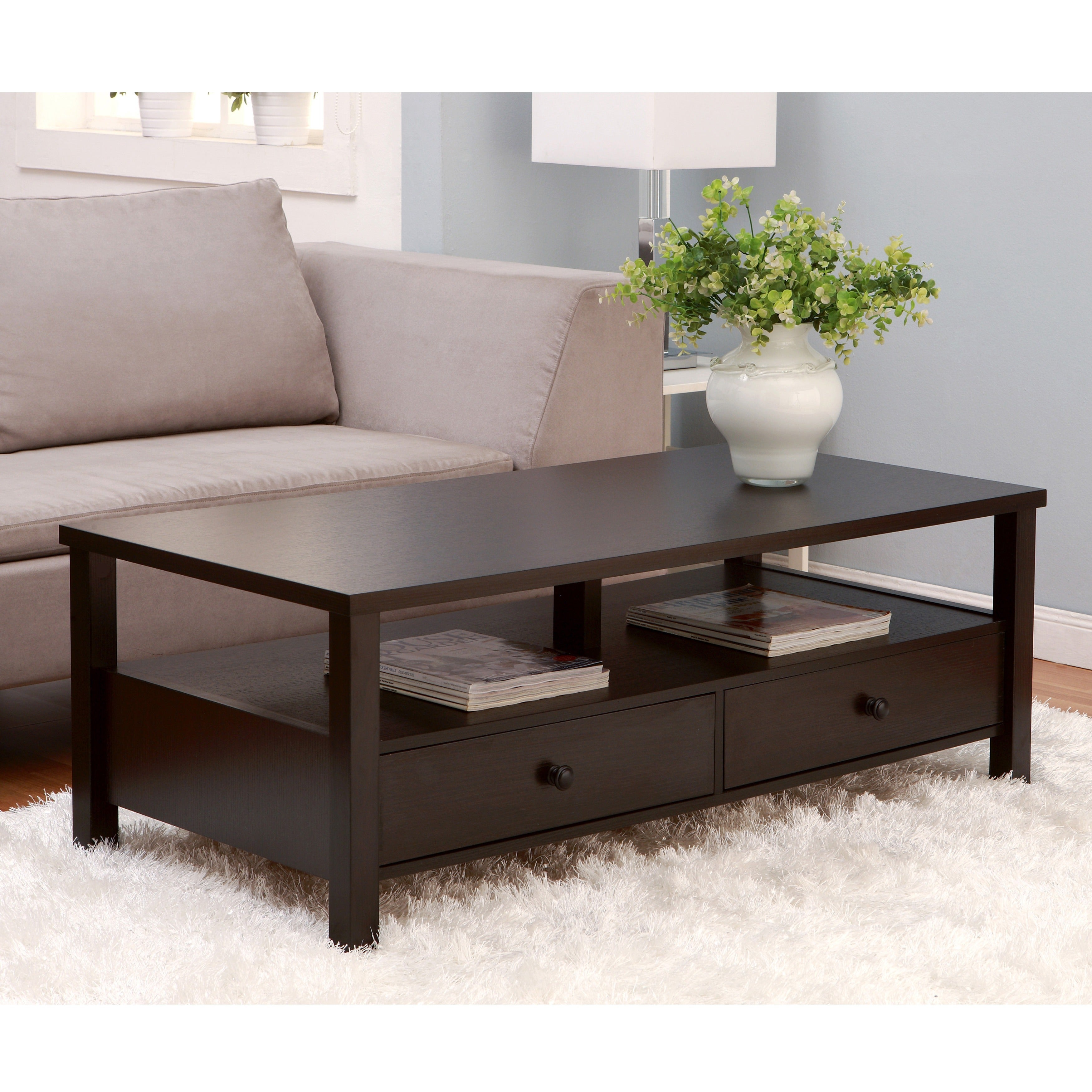 Style Livingroom Furniture Modern 2 Drawer Storage Coffee Table EBay
