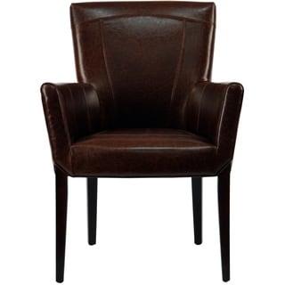 Safavieh En Vogue Dining Ken Bicast Leather Arm Chair Brown