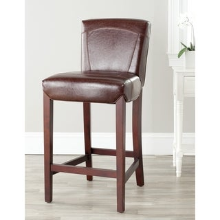 Safavieh Ken Brown Bi-cast Leather Barstool