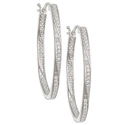 Sterling Silver 1/4ct TDW Diamond Oval Hoop Earrings (I-J, I3)