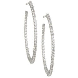 14k Gold 1 1/2ct TDW Diamond Inside-out Hoop Earrings (I-J, I2)