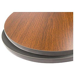 36-in Round Mahogany/ Black Tabletop