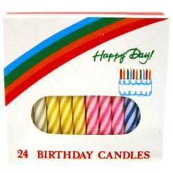 Candle Lamp Company Striped Assorted Birthday Candle Case of 12 boxes (Case of 24)
