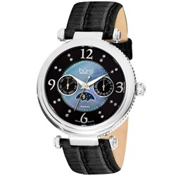 Burgi Women's Black/Mother-of-Pearl/Diamond Swiss Quartz Strap Watch