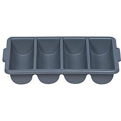 Rubbermaid Commercial 4 Compartment Gray Cutlery Bin
